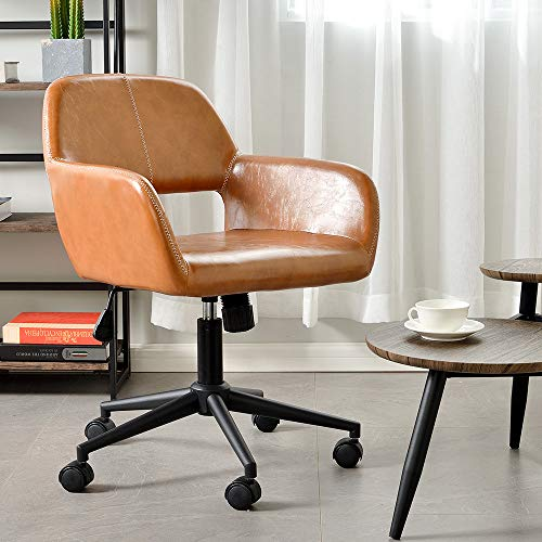 Aingoo Vintage Office Chair Mid Back Swivel/Rolling/ Tilting Accent Adjustable Computer Desk Armchair Brown PU Leather Reception Chair for Home Executive CH-03