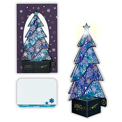 (Stained Glass Winter Blue Christmas Tree Lights and Melody Pop Up Card/Christmas Card)
