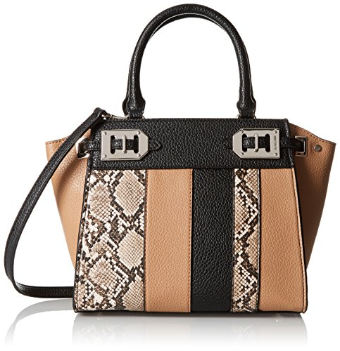 Nine West Gleam Team Mini Satchel, Dark Camel Black Truffle Multi