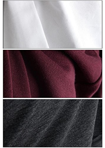 Meihuida - Camiseta de manga larga - Casual - para mujer rojo vino