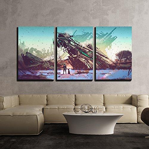 Illustration Spaceship Crashed on Blue Field Illustration Painting x3 Panels