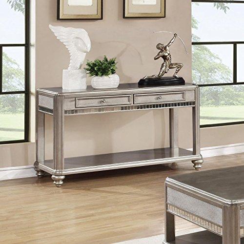 Coaster Home Furnishings Bling Game 2-Drawer Sofa Table Metallic Platinum ()