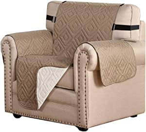 """Reversible Chair Cover Furniture Protector Anti-Slip Couch Cover Water Resistant 2 Inch Wide Elastic Straps Chair Slipcover Pets Kids Fit Sitting Width Up to 21"""" (Chair, Taupe/Beige)"""