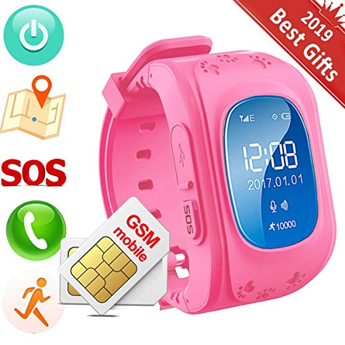 Hangang Children Smart Watch Kids GPS Tracker Anti-Lost Wrist Watch SOS  Call Location SIM Card Slot Remote Monitor Smartwatch for  Smartphones(Without