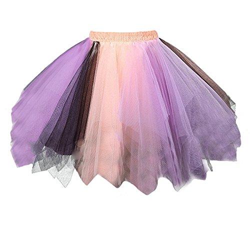 Dressever Vintage 1950s Short Tulle Petticoat Ballet Bubble Tutu Orange/Lavender Large/X-Large