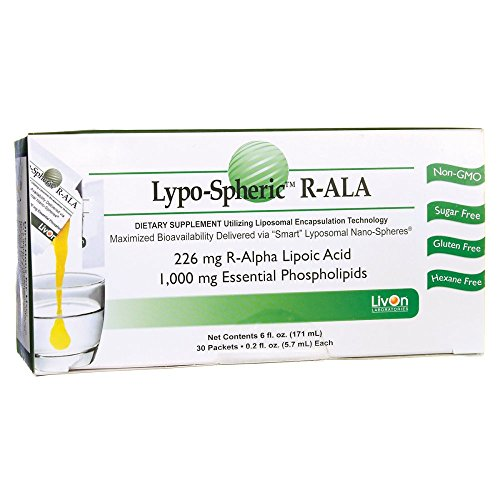Lypo-Spheric 30 Packets | 226 mg R-Alpha Lipoic Acid (net 6 fl oz) | Liposome Encapsulated for Maximum Bioavailability | Professionally Formulated | 1,000 mg Essential Phospholipids