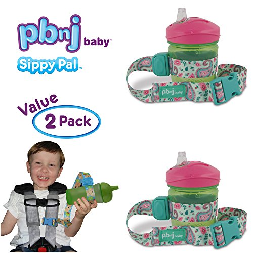 PBnJ Baby SippyPal Sippy Cup Holder Strap Leash Tether (Green Paisley (Bottle Stop)