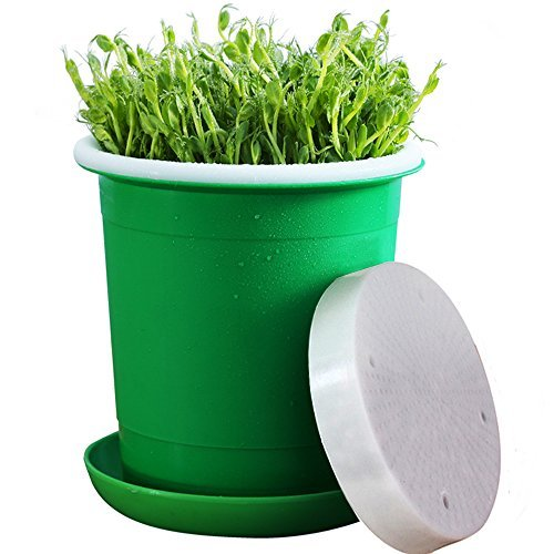 Seed Sprouter Pot,Big Capacity 8.27''x8.27''x8.4''Green Health Bean Sprouting Device 5 in 1:Inner+Outer bucket,Pressure plate,Lid,Tray and Counting Cup by LeJoy Garden