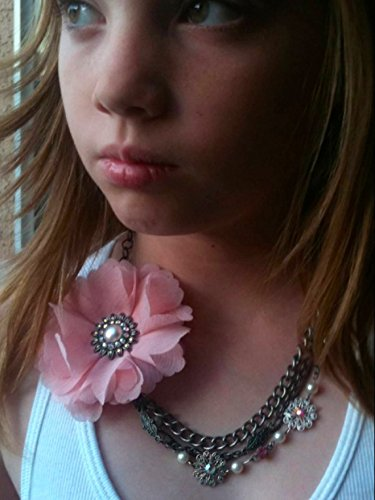 Vintage Estate Costume Jewelry - Vintage Swarovski Pink Fabric Flower Necklace