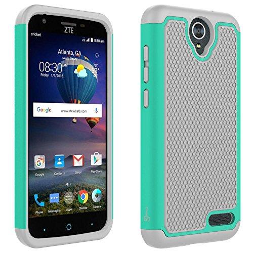 ZTE ZMax 3 Case, ZTE ZMax Champ Case, ZTE ZMax Grand LTE Case, ZTE Grand X3 Case, CoverON HexaGuard Protective Heavy Duty Hybrid Phone Cover - Teal and Gray