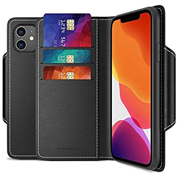 Maxboost mWallet Designed for Apple iPhone 11 Case (2019, 6.1-inch) [Folio Cover] Premium PU Leather Credit Card Wallet Holder Compatible with iPhone 11 Flip Cover Side Pocket Magnetic Closure - Black