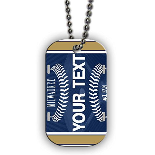BleuReign(TM) Personalized Custom Name Baseball Milwaukee License Plate Single Sided Metal Military ID Dog Tag with Beaded Chain