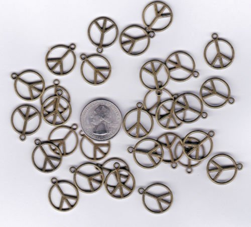 100 NEW BRONZE TONE PEACE SIGN METAL CHARMS.- - Jewelry Making Supply Charms Wholesale by BP. - C34