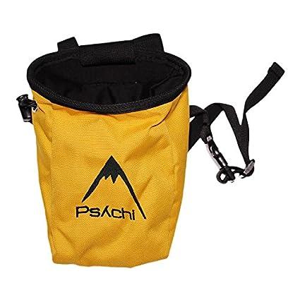 Psychi - Bolsa de magnesio con bolsillo y cinturón, color azul negro negro