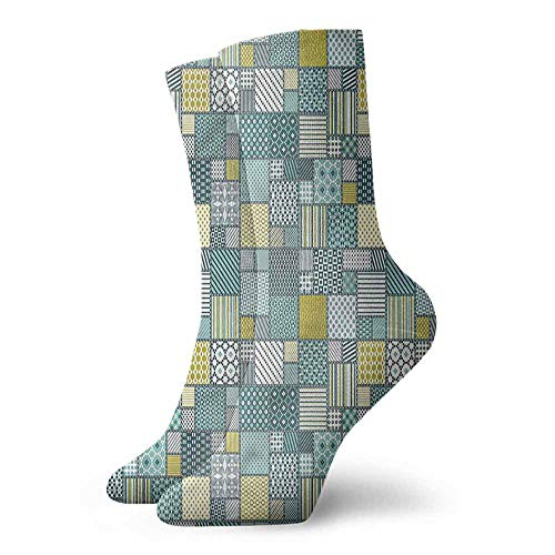 - Shiny Socks Short Summer Thin Patchwork,Squares Dotted Pattern 3.4
