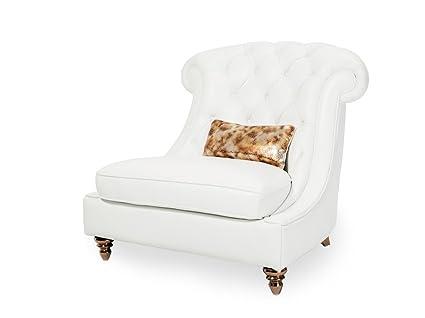 Merveilleux Michael Amini Damario Tufted Chair And A Half, White/Gold