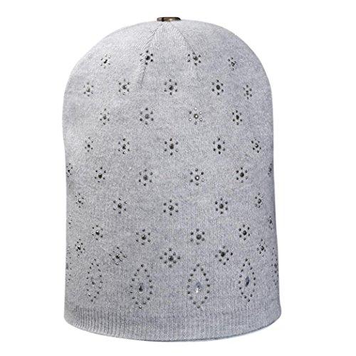 General3 Women Lady Fashion Hot Drill Cap Crochet Winter Warm Cap (Light Gray) (Drill Hat Wool)