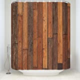 Rustic Country Barn Doors Fabric SHOWER CURTAIN Distressed Old Wood Boards Bath