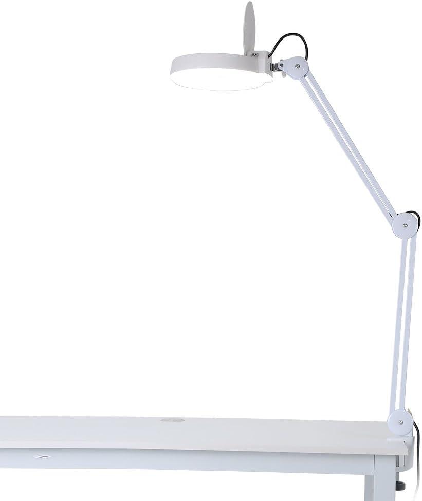 Lámpara con lupa LED, lámpara de mesa estética, ajustable, 8 dioptrías de aumento con iluminación, lámpara de mesa con pinza para la estética lectura, reparación de trabajo