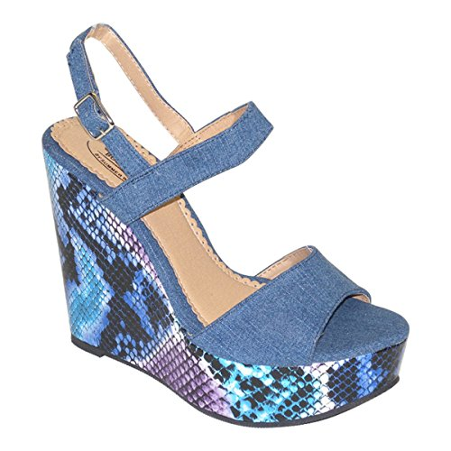 Womens Slingbacks Platform New Brieten Strap Wedge Ankle Sandals Snake Print TH5H8