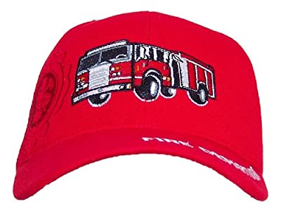Y&W Kid/Child Embroidered Fire Truck Adjustable Hook and Loop Hat (One Size)
