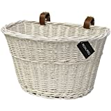 PedalPro White Wicker Bicycle Basket with Brown Handlebar Straps
