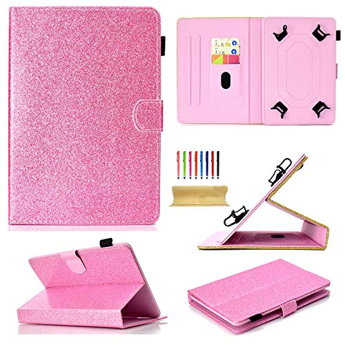 Uliking Universal Case for 7 inch Tablet, Bling Glitter PU Leather Stand Cover with Card/Pencil Holder for Galaxy Tab A 7.0,Kindle Fire 7,Galaxy Tab 3/Tab E Lite 7.0 and Other 6.5