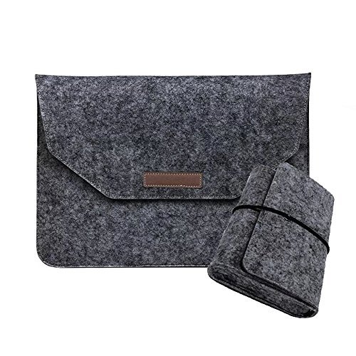 Wool Felt MacBook Sleeve for Apple Macbook Air 13 Pro Retina 13 Case Laptop Protector Bag with Mouse USB Cable Bag Dark Gray Best Gift