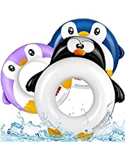Lynkktoy 3 Pcs Penguin Pool Floats Kids Inflatable Swimming Rings Swim Tube Summer Beach Party Pool Toys