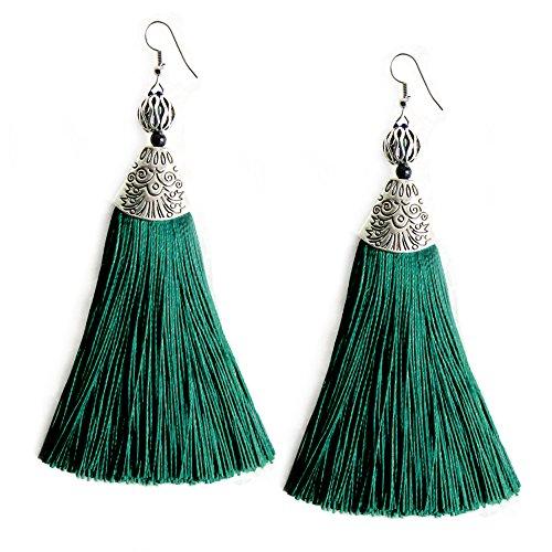 - Me&Hz Dark Green Big Drop Earrings with Tassels Elegant Emerald Dangle Bead Tassel Earring for Women Girls