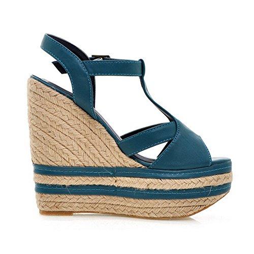 VogueZone009 Womens Open Peep Toe High Heel Platform Wedge PU Soft Material Solid Sandals, Blue, 5.5 UK