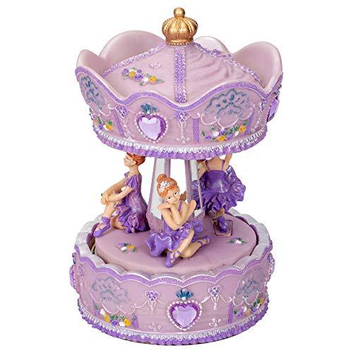 Elanze Designs Prima Donna Ballerina Musical Carousel 6 inch Rotating Figurine Plays Tune Swan Lake