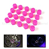 21mm 20X Glow In The Dark Blacklight Wheel Rim Lug Nuts Covers Cars/Bikes Pink