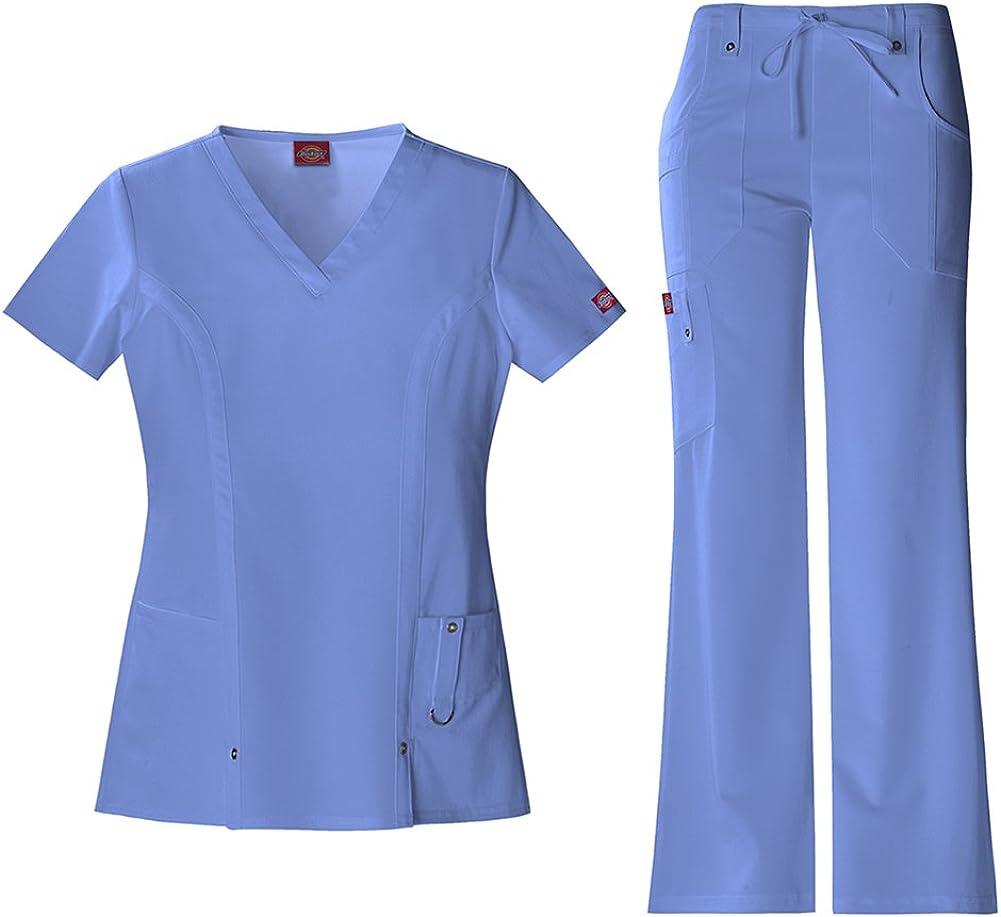 Dickies - Xtreme Stretch - Uniforme para mujer con camiseta de cuello de pico (82851) y pantalón con cordón (82011) - Azul - XX-Large