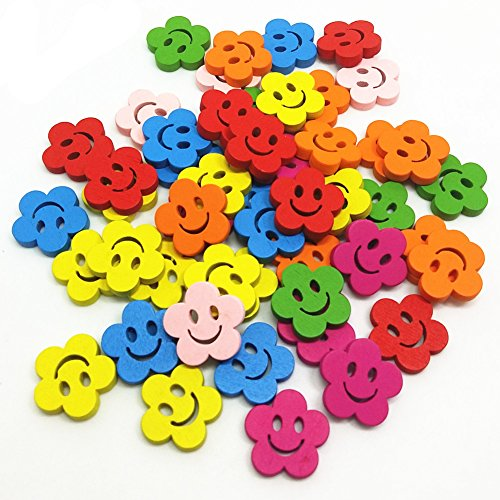 Diy Zipper Face Costume (QTMY 50 PCS Mixed Wooden Smile Face Emoji Buttons in Bulk for Crafts Sewing)
