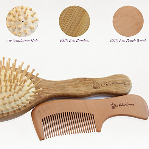 Velvetbreeze Natural Bamboo Hair Brush With Wooden Bristles Pin