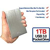 Avolusion HD250U3 1TB Ultra Slim SuperSpeed USB 3.0 Portable External Hard Drive (Mac OS Formatted) (Silver) - 2 Year Warranty