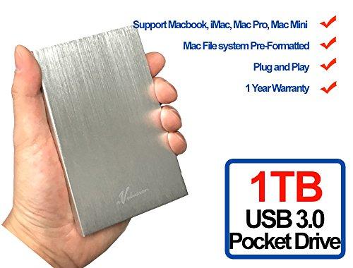 Avolusion HD250U3 1TB Ultra Slim SuperSpeed USB 3.0 Portable External Hard Drive (Mac OS Formatted) (Silver) - 2 Year Warranty