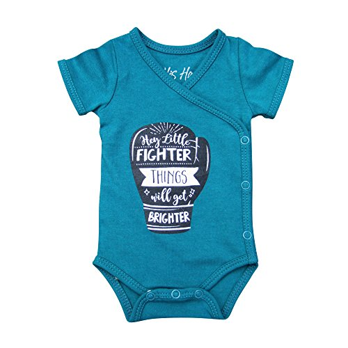 Short Sleeved Kimono Bodysuit (Boys' Preemie Onesie-100% Organic Cotton-'Hey Little Fighter Things Will Get Brighter' NICU Nurse Approved Clothing)