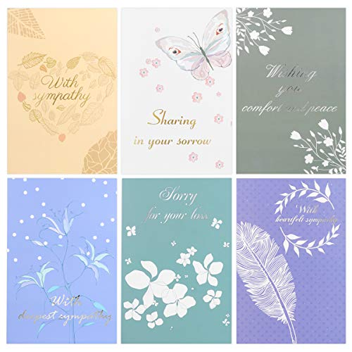 - PartyKindom 30PCS Sympathy Cards Pack, Condolence Greeting Cards-6 Designs with Gold Silver Foil and Flower Embossed, with Envelopes
