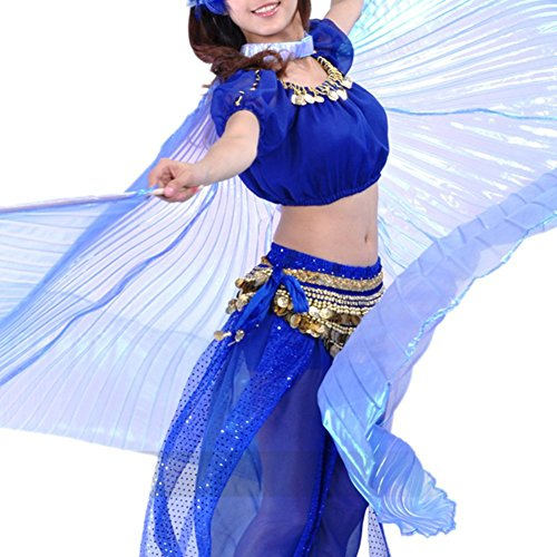 [BellyLady Transparent Belly Dance Costume Isis Wings With Sticks, Gift Idea NAVYBLUE] (Golden Belly Dancer Costumes)