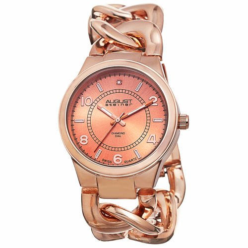 August Steiner Women's AS8112RG Swiss Quartz Diamond Rose-tone Twist Chain Bracelet Watch