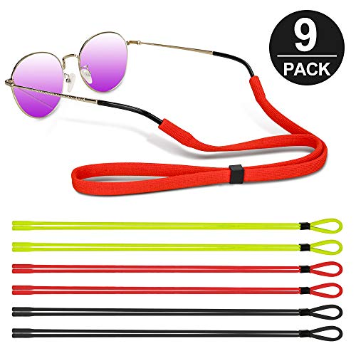 Eyewear Retainer Adjustable,Mopion Universal Sports Sunglass Holder Straps,Safety Glasses No Tail Rope Eyewear Retainer for Kids Men Women,9 Pack