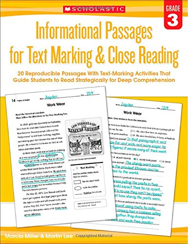 3 Grade Reading Worksheets - Informational Passages for Text Marking & Close Reading: Grade 3: 20 Reproducible Passages With Text-Marking Activities That Guide Students to Read Strategically for Deep Comprehension