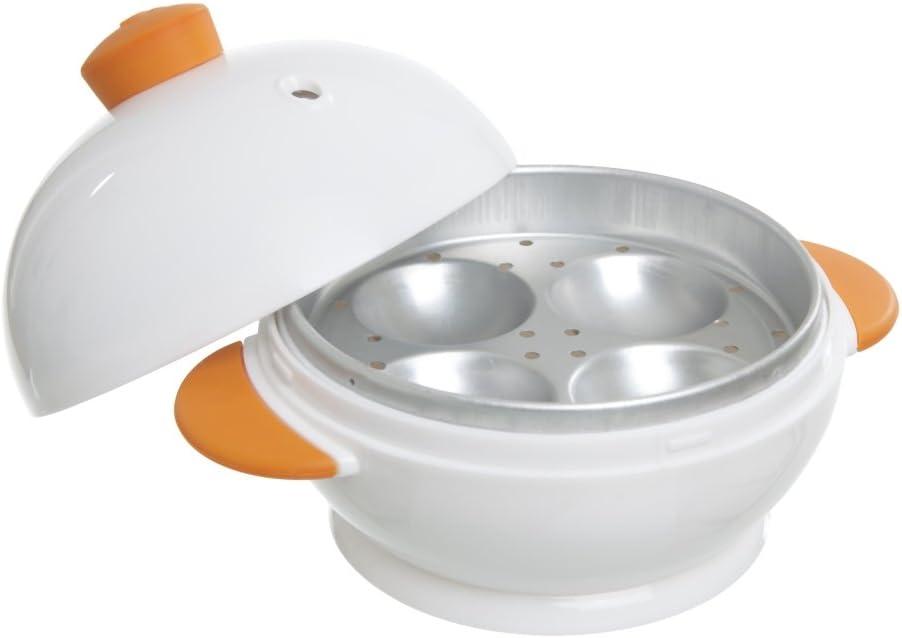 MSC International 4 Boiler Joie Big Boiley Microwave Egg Cooker, A, White with Orange Handles