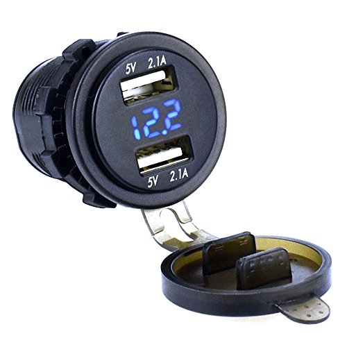 Cllena Dual USB Charger Socket Power Outlet 2.1A & 2.1A with 12V - 24V LED Voltmeter for Car Boat Marine Motorcycle Mobile (Blue)