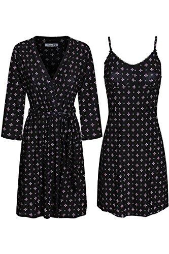SofiePJ Women's Printed Sleepwear Chemise and Robe 2 Piece Set Black Pink M