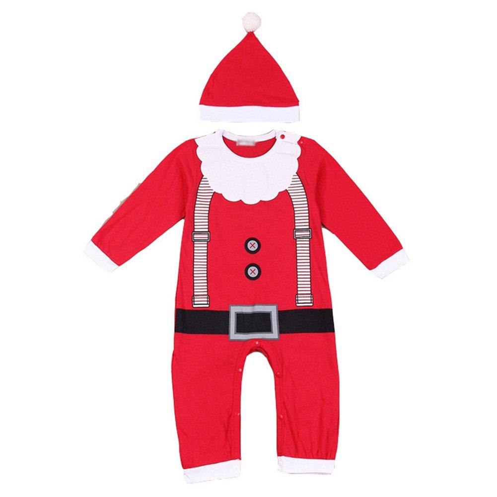 fuxinhe Natale Neonata Bambini Costume Santa Claus Bambino Outfits 2pcs Regalo Natale Bambini Costume Lungo Manica Piccolo Babbo Natale Verde 70CM - 90CM