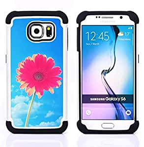 For Samsung Galaxy S6 G9200 - flower blue skies pink summer sun Dual Layer caso de Shell HUELGA Impacto pata de cabra con im??genes gr??ficas Steam - Funny Shop -