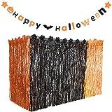 Gejoy Hawaiian Halloween Luau Party Grass Table Skirt Decorations Hula with Halloween Pumpkin Bat Stars Banners for Halloween Party